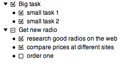 Example of hierarchies: Big task splits into two smaller tasks.