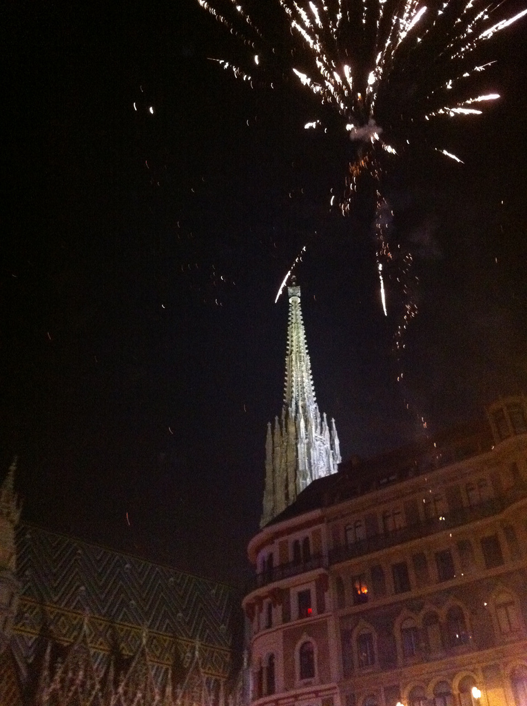 Fireworks at St Stephens Cathedral (Stephansdom), Vienna, Austria