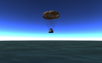 Capsule shortly before touchdown in the ocean - mission accomplished!